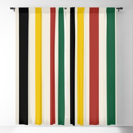 Rustic Lodge Stripes Black Yellow Red Green Blackout Curtain