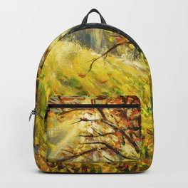Sunny autumn tree in field hand painted painting by Rybakow. Backpack