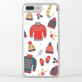 Winter pattern Clear iPhone Case