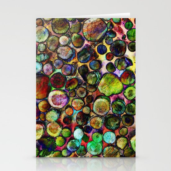 Colored Wood Pile 2 Stationery Cards