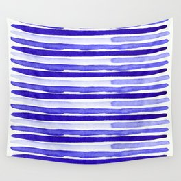 Ultra Violet Watercolour Stripes Wall Tapestry