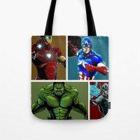 avenger Tote Bags featuring Avenger Team by Carrillo Art Studio
