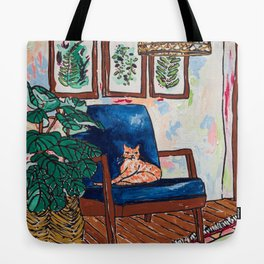 Ginger Cat on Blue Mid Century Chair Painting Tote Bag