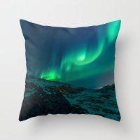 aurora Throw Pillows featuring Aurora by StayWild