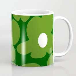 Spring Green Retro Flowers Dark Green Background #decor #society6 #buyart Coffee Mug