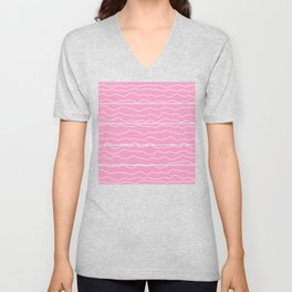 Pink with White Squiggly Lines Unisex V-Neck
