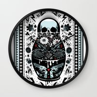 doll Wall Clocks featuring Russian Doll by koivo