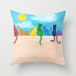 Rainbow Cats on a Wall Throw Pillow