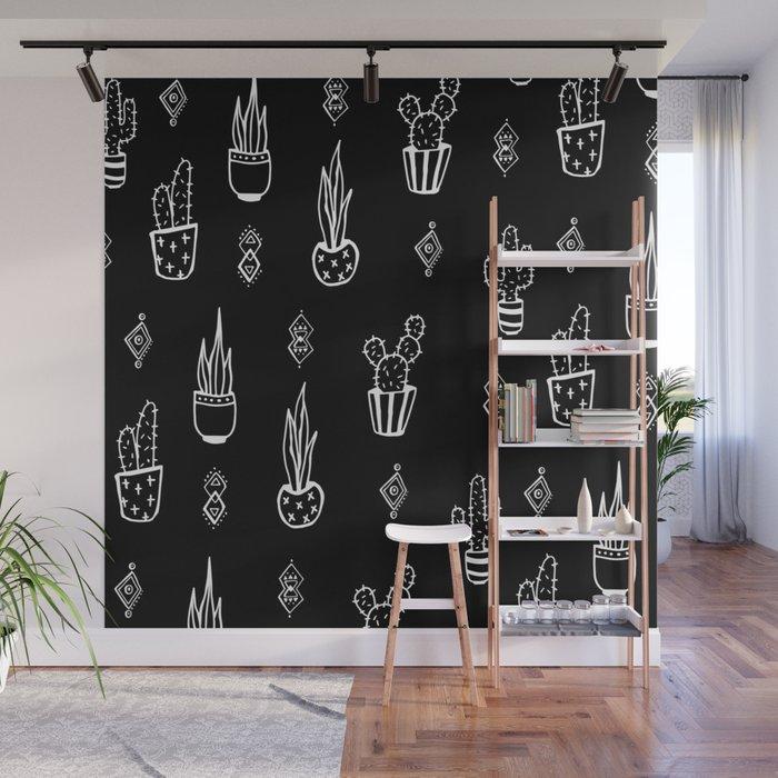 Boho Cactus, Black and White Succulent Art Wall Mural