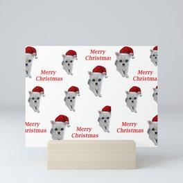 Santa Clause puppy, cute chihuahua, Merry Christmas gift idea by Luna Smith, LuArt Gallery Mini Art Print