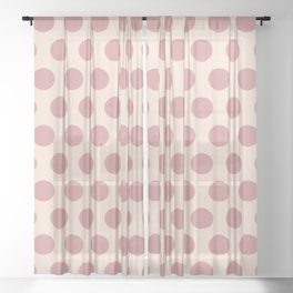 Dusty Rose Polka Dots 771 Sheer Curtain
