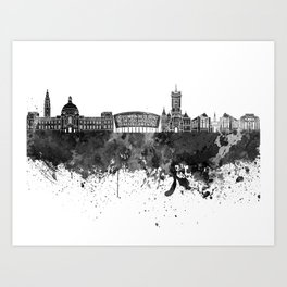Cardiff skyline in black watercolor Art Print