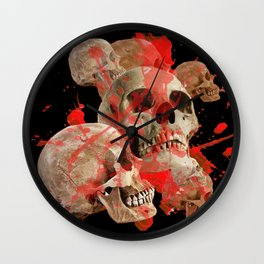 MACABRE BLOOD & SKULLS BLACK  ART Wall Clock