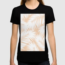 Palm Tree Fronds White on Peach Hawaii Tropical Décor T-shirt