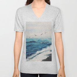 Watercolor Coast Unisex V-Neck