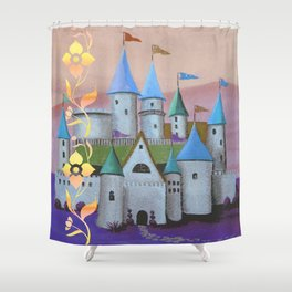 Enchanted Castle after Sunset Shower Curtain