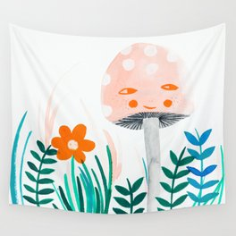 pink mushroom with floral elements Wall Tapestry