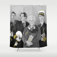 cabin Shower Curtains featuring Cabin Crew by tillieke