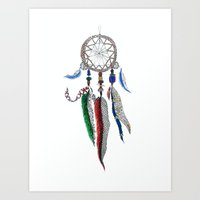 dreamcatcher Art Prints featuring Dreamcatcher by Ina Spasova puzzle