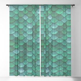 Green Penny Scales Sheer Curtain