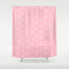 Pink Crosses Pattern Shower Curtain