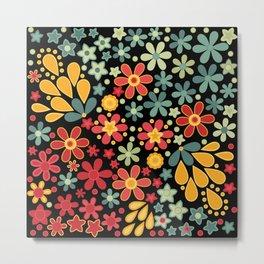 Retro.  Floral motifs Metal Print