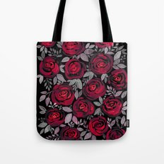 Watercolor red roses on black background Tote Bag