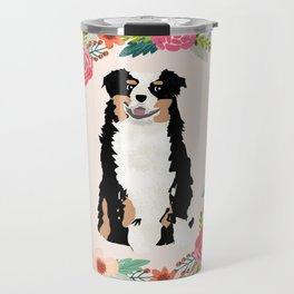 australian shepherd tricolored floral wreath dog gifts pet portraits Travel Mug