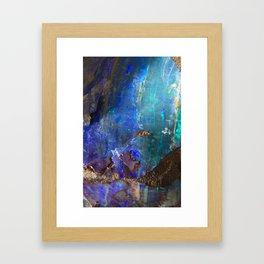 Aqua geode opal iridescent holographic druse crystal quartz agate gem gemstone mineral stone photo Framed Art Print