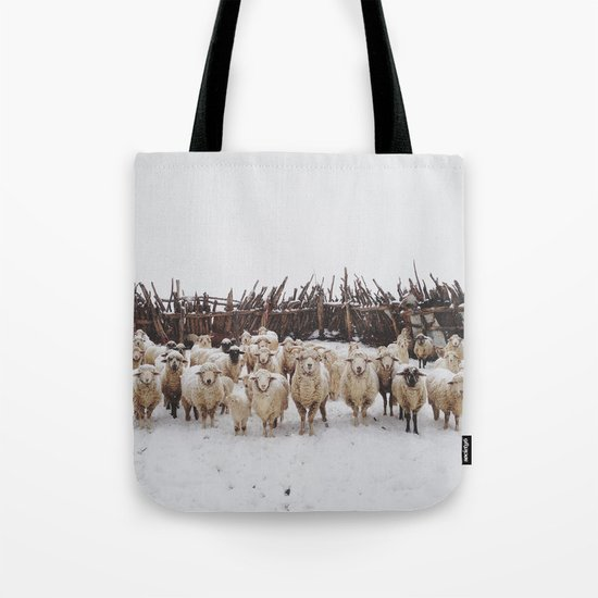 Snowy Sheep Stare Tote Bag
