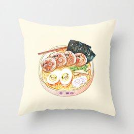Ramen Pugs Watercolor Throw Pillow