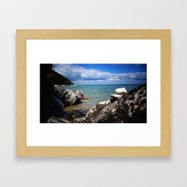 Rocks Lakeside Paradise Framed Art Print