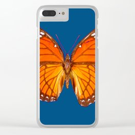 TEAL ORANGE MONARCH BUTTERFLY Clear iPhone Case