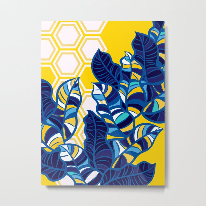 Geo Pop Foliage on Yellow & White Metal Print