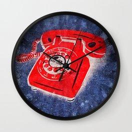 Rotary Telephone Graffiti Wall Clock
