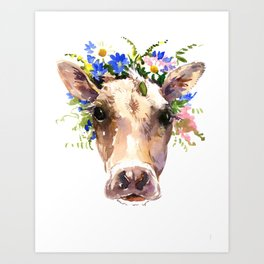 Cow Head, Floral Farm Animal Artwork farm house design, cattle Art Print
