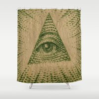 all seeing eye Shower Curtains featuring All Seeing Eye by GiantEvilPizza