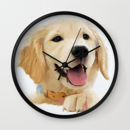 Golden Retriever Pup Wall Clock