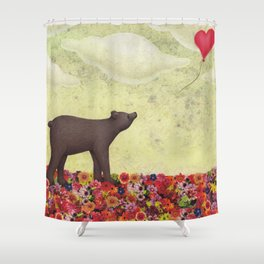 the bear and the heart-shaped balloon Shower Curtain