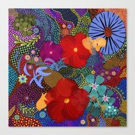 Floral Bouquet Dot Dash Canvas Print