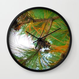 Beautiful fir tree branch with cones Wall Clock