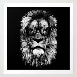 Hipster Lion Black Art Print