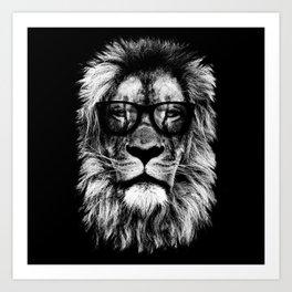 Hipster Lion Black Art Print