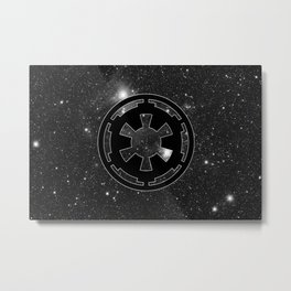 Imperial Cog on Stars with White Outline, Galactic Empire, Dark Side Metal Print