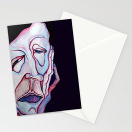 Thinker Surreal Melting Portrait Of a Man Damned Poet Stationery Cards