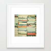 wallpaper Framed Art Prints featuring Bookworm by Cassia Beck