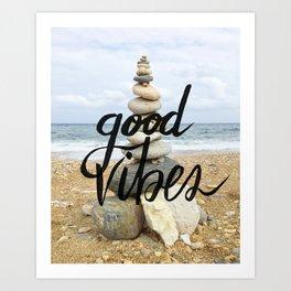 Good Vibes - Rock balancing Art Print