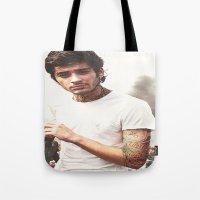 zayn malik Tote Bags featuring Zayn Malik by CelebrityMerch