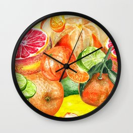 Pattern with citruses Wall Clock