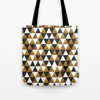 black and gold Tote Bags featuring Black/Gold by T.Fischer